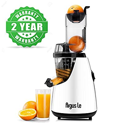 "Argus Le Masticating Juicer, Whole Slow Juicer, 3""inches(75MM) Wide Feed Chute, Easy Cleaning Auger, Energy Saving 150W DC Motor, Fruit and Vegetable Juice Extractor with Two Filters and Recipe Book"