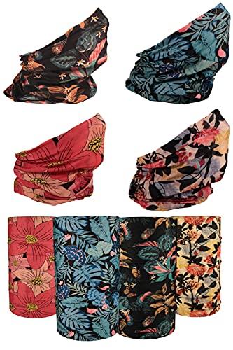 [4 Pack] UV Cooling Floral Neck Gaiter | UPF 50+ Sun/Wind/Dust Protection | Multipurpose Neck Gaiter for Men and Women | Summer Buff Tube Bandana Gaiter Mask Seamless Face Cover Shield