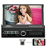 Camecho Single Din Folding Car Stereo Radio Receiver, 7 Inch Touch Screen Car MP5 Multimedia Player, Build-in DVR Input/FM Radio/Bluetooth Support IOS&Android Phone Link+Backup Camera & Remote Control