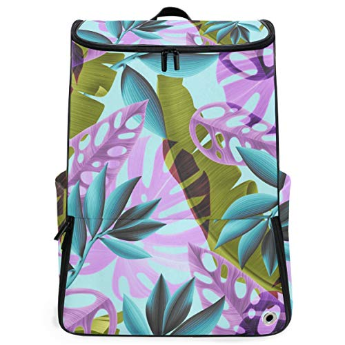 YUDILINSA Viaje Mochila,Fondo de patrón de planta de flor tropical transparente,Universitaria Mochila,Laptop Backpack con Compartimento para zapatos