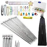 Anyasen 80 piezas Kit de tejer Kit de Ganchillos Accesorios Agujas de Tejer Kit Agujas de punto...