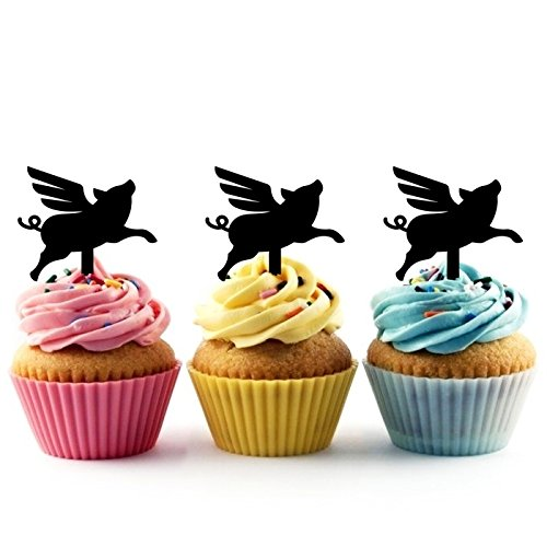 TA0367 Flying Pig Silhouette Party Wedding Birthday Acrylic Cupcake Toppers Decor 10 pcs