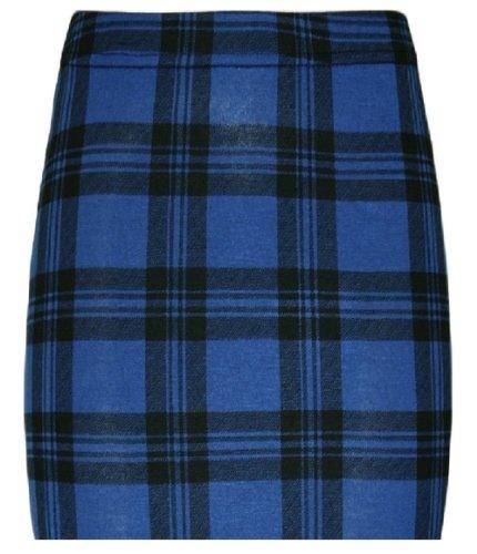 Nuevas mujeres Mini faldas en muchos PRINTS, Mini falda, talla UK tamaño 8–14, BLUE TARTAN MINI SKIRT, M/L 40-42