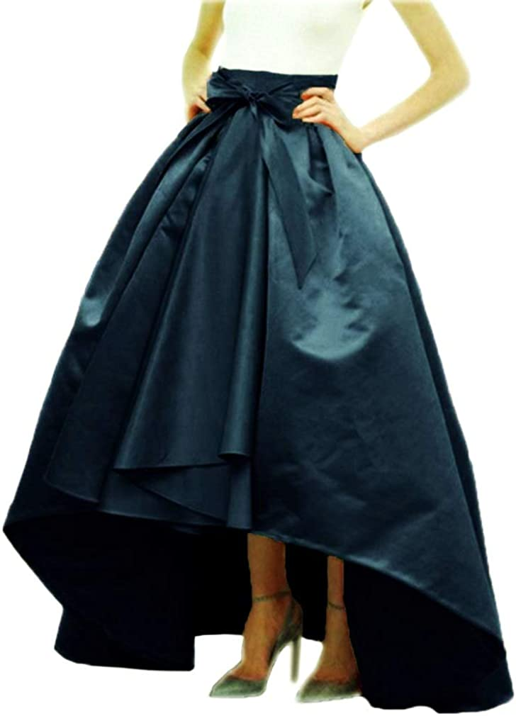 DreamSkirts Women's Long Taffeta Bowknot Maxi Skirt A-Line High-Low Prom Party Skirts with Pockets