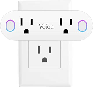 Smart Plug - Voion Dual Mini Smart Socket with Energy Monitoring and Timer Function, Compatible With Alexa, Echo, Google Home and IFTTT, No Hub Required, 16A (1 Pack)