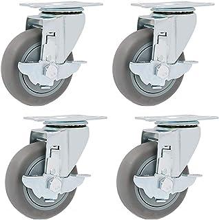 WQF 4x zwenkwielen,Draaibare zwenkwielen,75MM/100MM/125MM,Grijs rubber, Heavy Duty montageplaten en lagers
