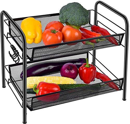 Gewürzregal Organizer für Arbeitsplatte, 2 Tier Obst/Gemüse Storage Organizer, Standing Regal mit Mesh-Körbe für Haus, Küche, Bad, Büro etc.