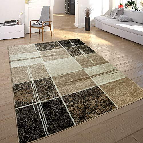 Paco Home Designer Teppich Kariert in Marmor Optik Meliert Braun Beige Schwarz Preishammer, Grösse:120x170 cm