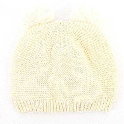 Winter Herfst Warm Verdikking Breien Hoed voor Kinderen witte bal