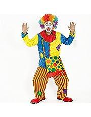 ピエロ 衣装 目立つぜ お得フルセット (服 パンツ バッグ マスク ウィッグ 手袋) スーツ 仮装 コスプレ コスチューム 道化師 ジョーカー ハロウィン halloween 男女共用 160から185cm クロス贈る
