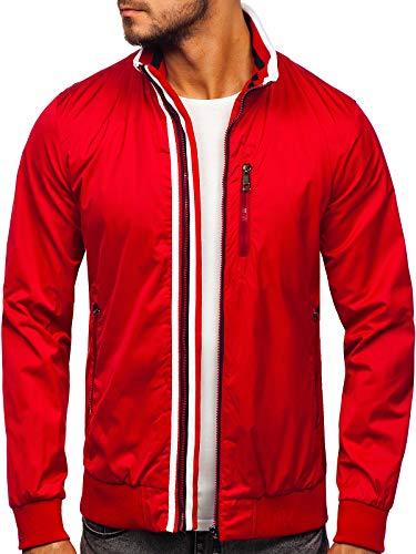 BOLF Herren Sportjacke Übergangsjacke Stehkragen Freizeitjacke Reißverschluss Street Style K01 Rot XXL [4D4]