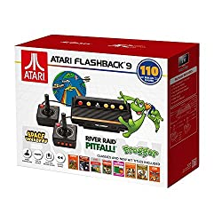 Updated retro Atari console 110 built-in games Space Invaders, Frogger and many more classics Internal memory to save/reload/rewind 2 wired controllers, connects via HDMI