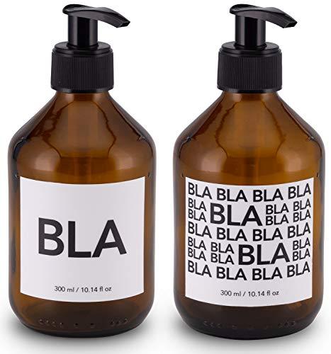 Lifestyle Lover 2er Pack Seifenspender aus Braunglas, Bernsteinfarben für Seife Spüli Shampoo Lotionen Braun Glas, BLA & BLA BLA BLA 300ml