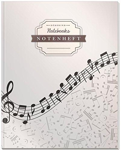 DÉKOKIND Notenheft | DIN A4, 64 Seiten, 12 Notensysteme pro Seite, Inhaltsverzeichnis, Vintage Softcover | Dickes Notenbuch | Motiv: Modern Grey