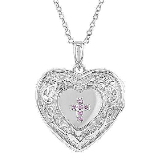925 Sterling Silver Pink CZ Cross Heart Locket Pendant Necklace for Girls 16