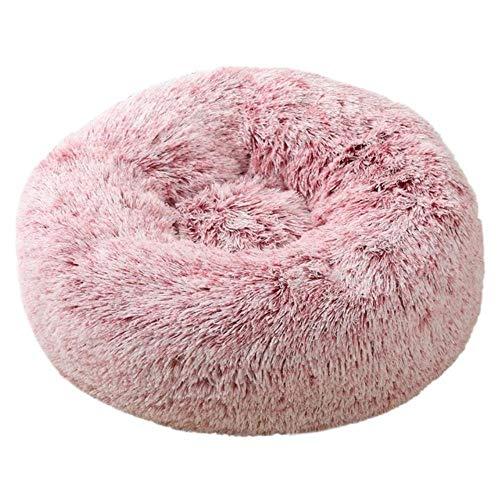 WEDER Suave cama para mascotas perrera redonda gato invierno cálido saco de dormir largo cachorro cojín alfombrilla portátil gato suministros 46/50/60cm, Blanco y rojo., 50cm