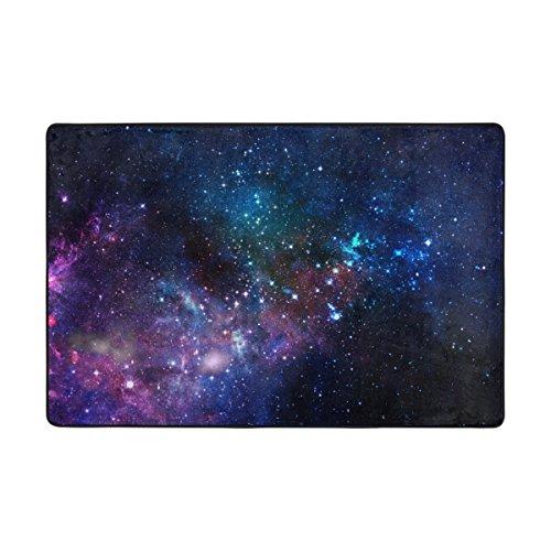 MyDaily Teppich, bunt, Galaxie Nebel Sterne, Universum, 1,2 x 1,8 m, für Wohnzimmer, Schlafzimmer, Küche, dekorativ, leichter Schaumstoff-Teppich, Polyester, multi, 2' x 3'