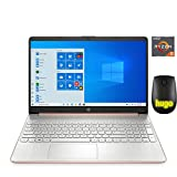 HP 15.6in Laptop (AMD Quad-Core Ryzen 5 3500U, 8GB RAM, 256GB SSD, HDMI, WiFi, Bluetooth, HD Webcam, Windows 10 Home) with Hugo Mouse Rose Pink (Renewed) (Pink)