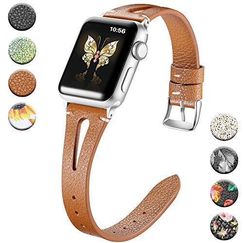 Haveda Leather Bands Compatible for Apple Watch Band 44mm Series 4 Series 5, Soft Slim Feminine Floral Wristband for iWatch 42mm Women, Apple Watch Series 4 Series3/2/1, Brown