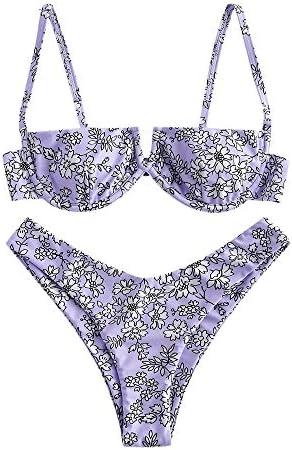 ZAFUL Women s V Wired Bathing Suits Beach Swimwear Floral Tie Reversible High Cut Bikini Set product image
