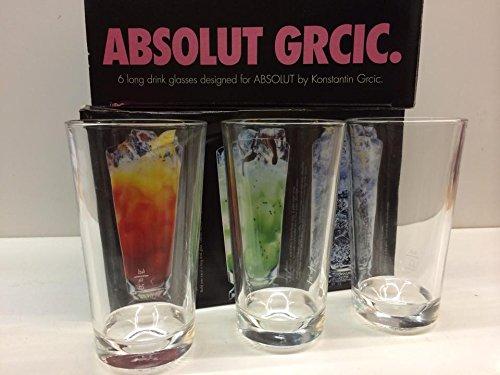 6x Absolut Vodka -KONSTANTIN GRCIC- Design Longdrink glas gläser 33cl