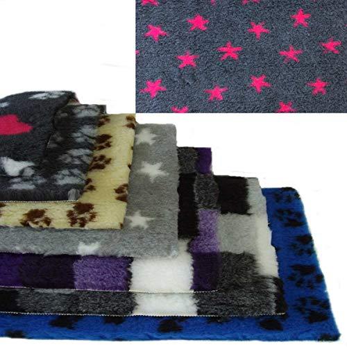 Vetbed -/ Drybed I anthrazit mit pinken Sternen I 75 x 100 cm