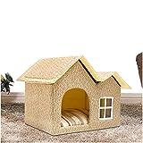 Abnehmbare Hundebetten Doppel Haus Zu Klein Mittel Groß Hunde Kissen Haus Kennel Nest Luxury Pet Products (Color : Retro)