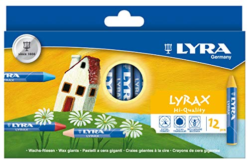 LYRA LYRAX Wax-Giants Large Triangular Beeswax Crayons, Set of 12 Crayons, Assorted Colors (5701120)