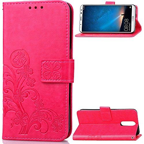 Tosim Coque Huawei [Mate 10 Lite], Portefeuille Étui en Cuir Synthétique Fonction Stand Case Housse Folio à Rabat Compatible avec Huawei Mate10 Lite - TOSDA040641 Rose Rouge