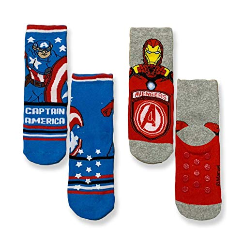 Marvel Calcetines antideslizantes Avengers Capitán América Iron Man de algodón 3310 Variante 2. 27W x 30L