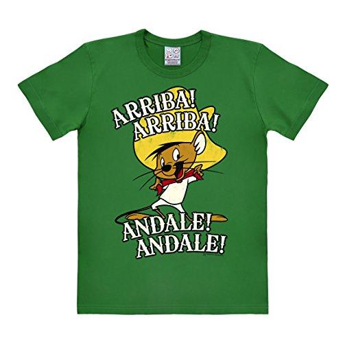 Logoshirt Cartoon - Looney Tunes - Maus - Speedy Gonzales - Arriba Andale - Easyfit - T-Shirt - grün - Lizenziertes Originaldesign, Größe XL