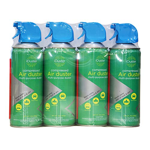 iDuster Disposable Compressed Air Duster, Computer Cleaner, Keyboard CPU Cleaner, 10 oz (4 Pack)