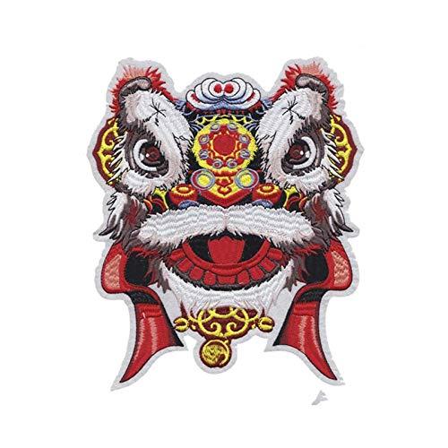 MAODING 中国のスタイル獅子舞布ステッカー大ライオンヘッドファッションアクセサリー刺繍布ステッカー (Color : Antique Zinc)