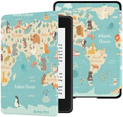 Funda de Tela Resistente al Agua para Kindle Paperwhite Completamente Nueva (décima generación, versión 2018), Funda para Tableta con póster para niños, Mapa del Mundo de Animales