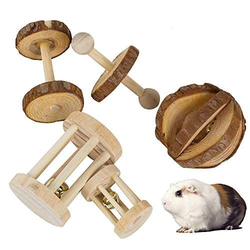 JEMPET Hamster Chew Toys, Natural Wooden Pine Guinea Pigs Rats Chinchillas Toys Accessories, Dumbbells Exercise Ball Roller Teeth Care Molar Toy for Birds Bunny Rabbits Gerbils (5 Pack)