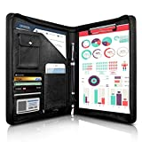 Zippered Padfolio, WOBEECO Portfolio Binder Conference Folder Multifunctional Business Files Organiser with Pockets and Card Holders, Leather A4 (Black)