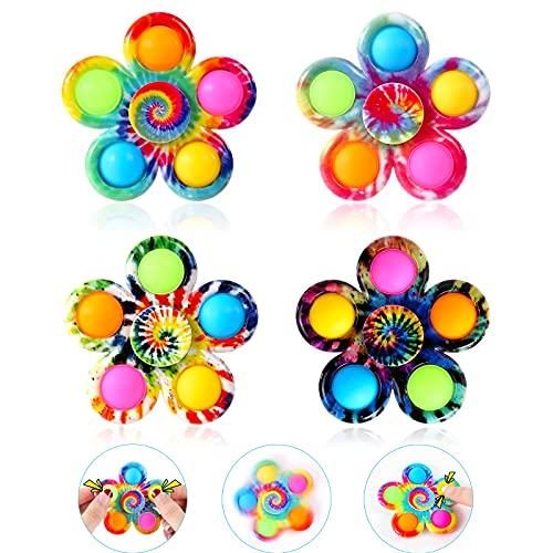GOHEYI Pop Fidget Spinner Toys 4 Pack, Simple Popping Fidget Toy, Pop Fidget Pack, Pop Bubble Sensory Toys Set for Kids, Party Favor Fidget Bulk Pack Toys ADHD Stress Relief Hand Pop Fidget Spinners