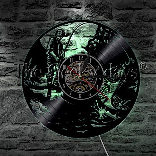 ROMK Decoración para el hogar Reloj Pesca Hombre LED Lámpara de Pared de Vinilo Record Reloj de Pared Pesca Gancho de Pez Diseño Moderno Iluminación D...