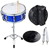 ADM Student Snare Drum Set 14' X 5.5' with Gig Bag, Sticks, Stand and Practice Pad Kit, Blue