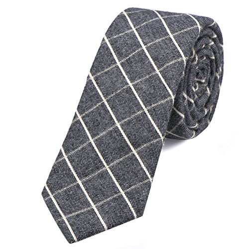DonDon Corbata de cuadros de algodón para hombres de 6 cm - gris blanco