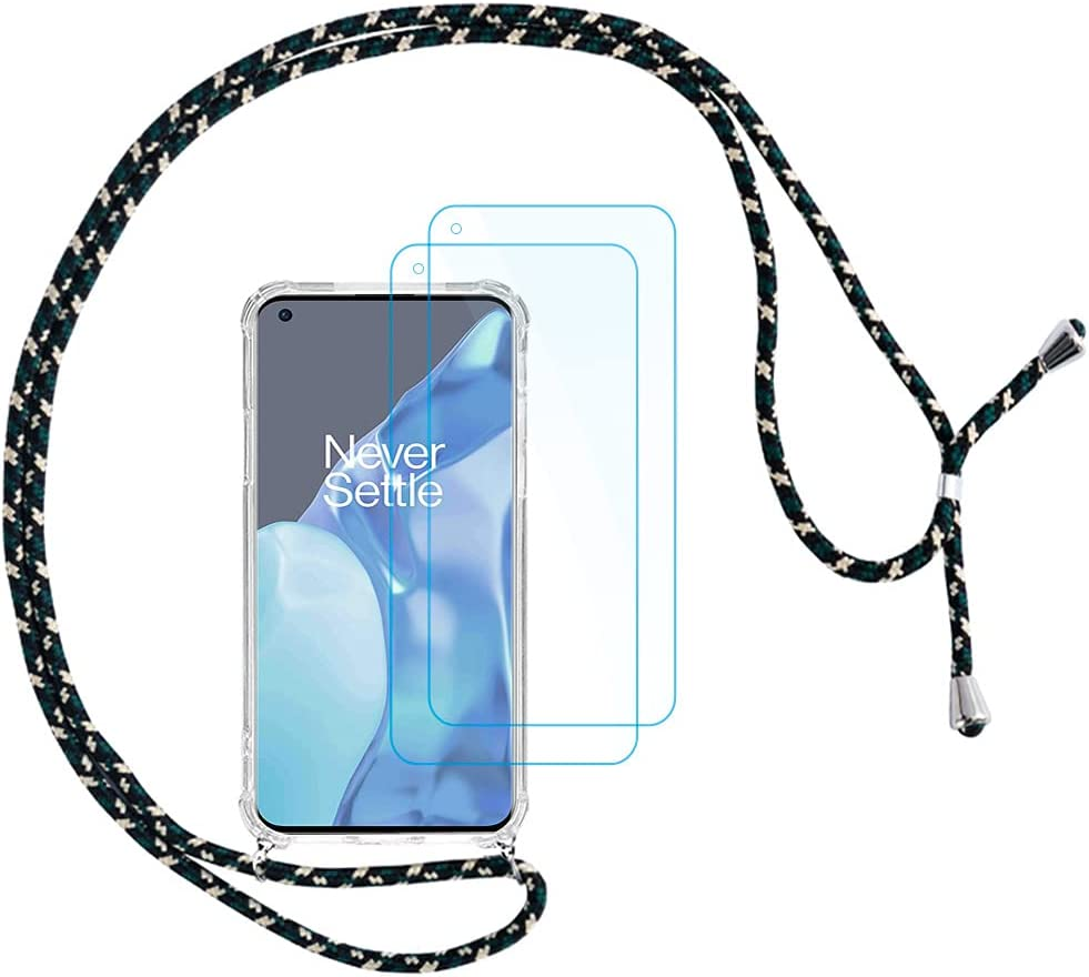 QUIETIP Clear Case Compatible OnePlus 9 Pro 5G,Crossbody Strap Adjustable Neck Lanyard Transparent Shockproof Protective Case,2 x Tempered Glass Screen Protector,Green Rice Black