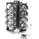 SIDCO Gewürzregal Edelstahl Gewürzständer Gewürzkarussell mit 16 Gläser drehbar - 3