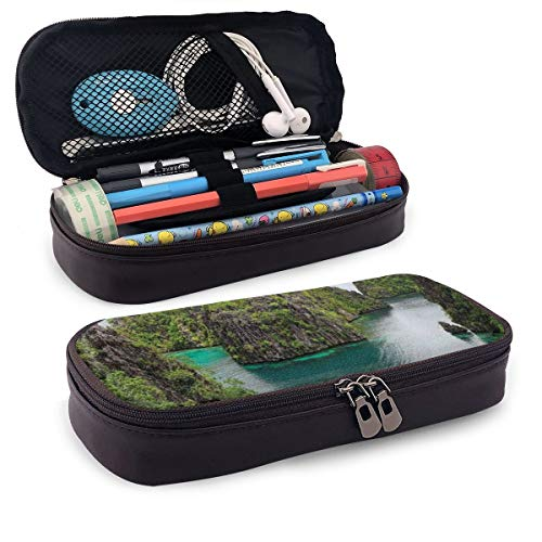 Pencil Case Big Capacity Storage Holder Desk Pen Pencil Marker Stationery Organizer Pencil Pouch with Zipper,Landscape Of Majestic Cliff In Philippines Wild Hot Nature Resort Off Picture