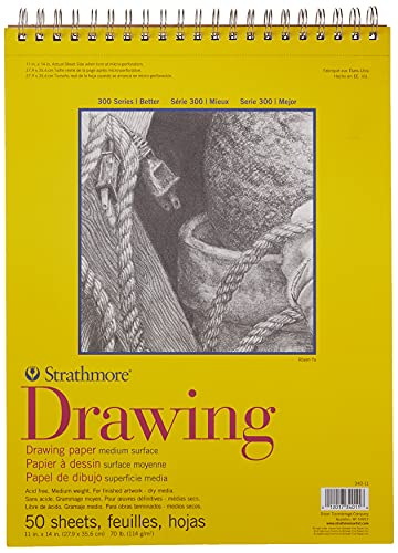 """Strathmore 300 Series Drawing Pad, Medium Surface, 11""""x14"""", Wire Bound, 50 Sheets"""