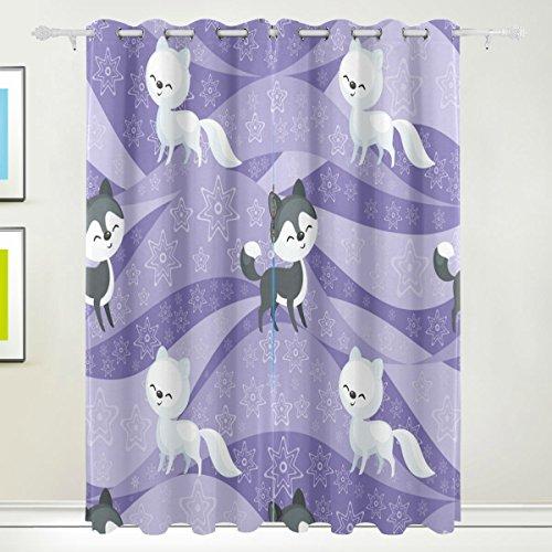 Rideau de fenêtre, 2 panneaux Fox Impression Isolation thermique occultant épais Tissu de polyester Décoration de maison avec œillet pour filles Chambre à coucher Salon de salle de bain de c