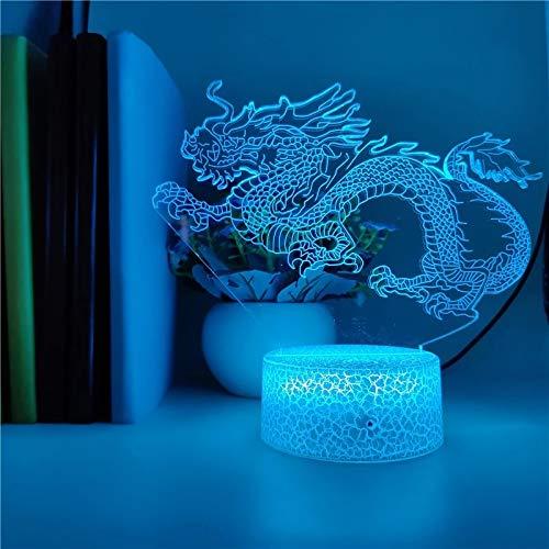 Dragón chino luminoso base agrietada acrílico luz multicolor lámpara de mesa pequeña creativa luz de noche led dormitorio de luz visual 3D, luz de decoración de habitación