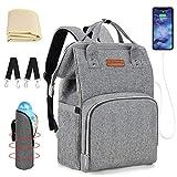unibelin Baby Wickelrucksack, Wickeltasche mit USB-Ladeanschluss Multifunktional Große Kapazität Reise Babytasche mit Wickelunterlage und Baby-Flaschen-Tasche Babyrucksack - Grau