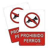 2pcs Señal de Prohibido Perros, Cartel de Metal 180 * 250mm