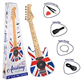 Academy of Music TY6016C Kids Electric Guitar Starter Set for Beginners with Built-in Amp and Accessories, Union Jack