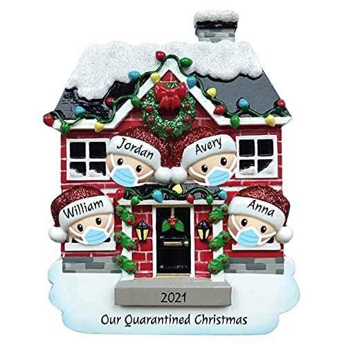 Quarantined Family at House 2021 Personalized Christmas Tree Ornament Customized Couple Family Decoration Ornament Station - Free Personalization (Family of 4)